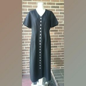 Orvis Black Linen Blend Long Dress Button Front